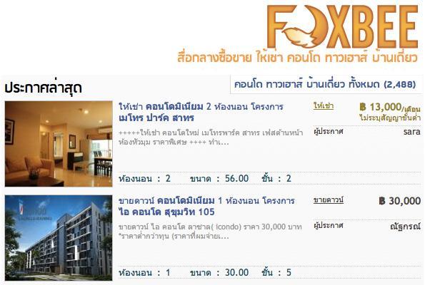 Foxbee เวปไซต์ Real Estate Search Engine ค้นหา ซื้อ ขาย เช่า บ้าน คอนโด