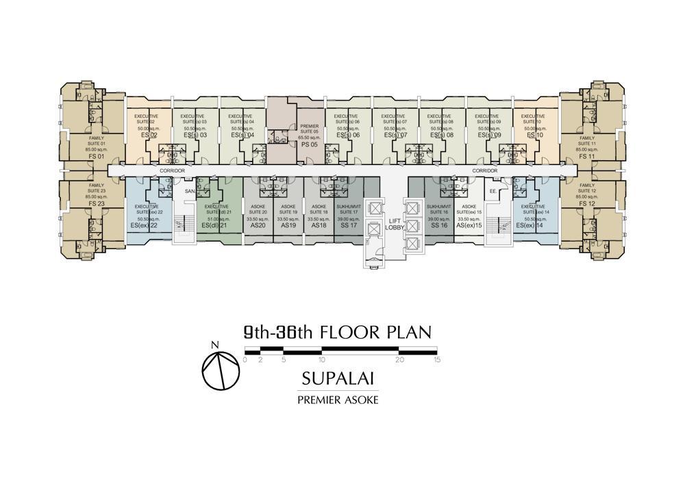 ศุภาลัย พรีเมียร์ อโศก Floor Plan ชั้น 9-36
