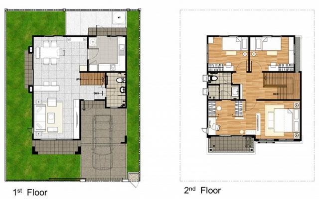 Floor Plan บานแฝด พฤกษาวลล พฒนาการ