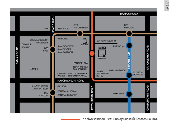แผนที่ไอดีโอ คิว สยาม-ราชเทวี
