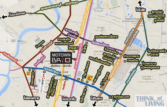 แผนที่กว้างกะสถานที่ Motown Brio