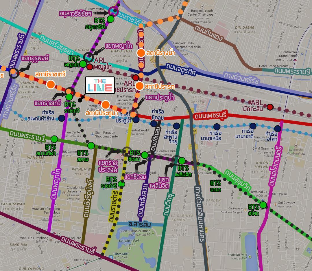 TheLineราชเทวี_Map_BTSOrange