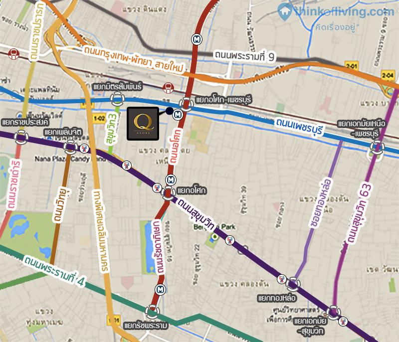 แผนที่การเดินทาง Q Asoke