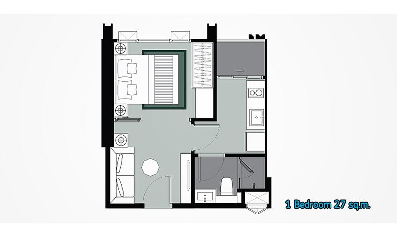 Whizdom รัชดา_1 Bedroom K