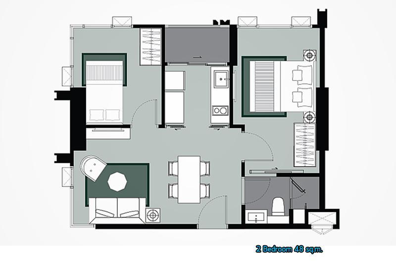 Whizdom รัชดา_2 Bedroom_1